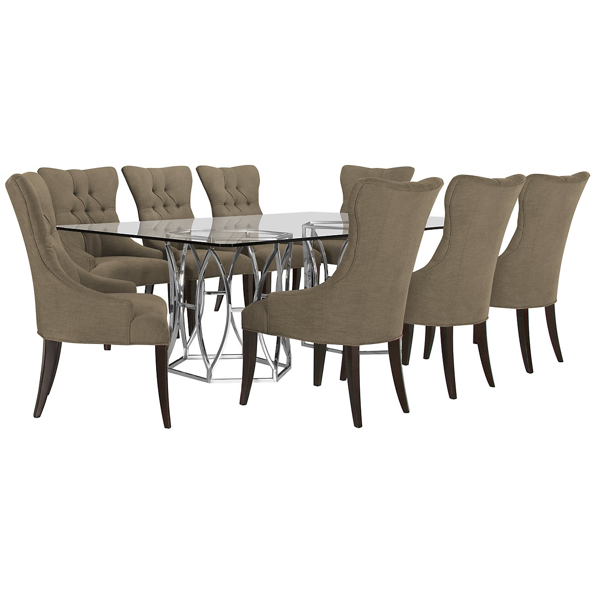 Argent Khaki Rectangular Table & 4 Upholstered Chairs