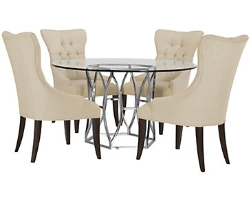 Argent Light Beige Round Table & 4 Upholstered Chairs