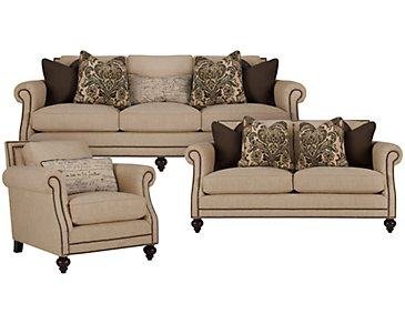 Brae Light Brown Fabric Living Room