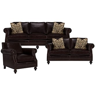Brae Dk Brown Leather Living Room