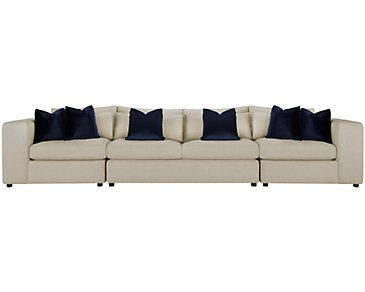 Como Light Beige Fabric Large Sofa