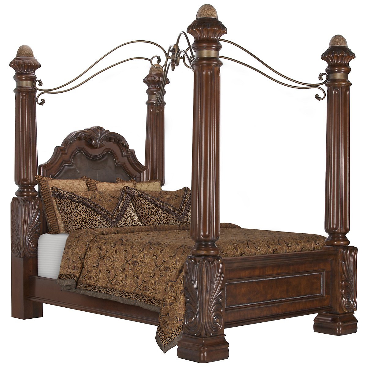 City Furniture Regal Dark Tone Leather Canopy Bedroom