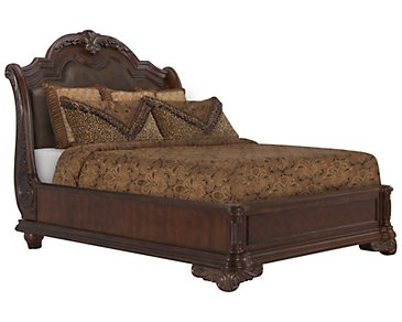 Regal Dark Tone Leather Platform Bed