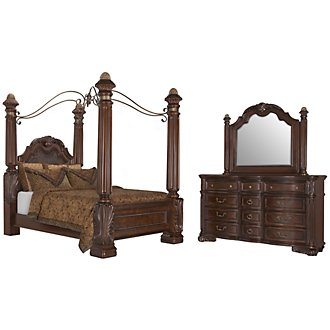 Regal Dark Tone Leather Canopy Bedroom