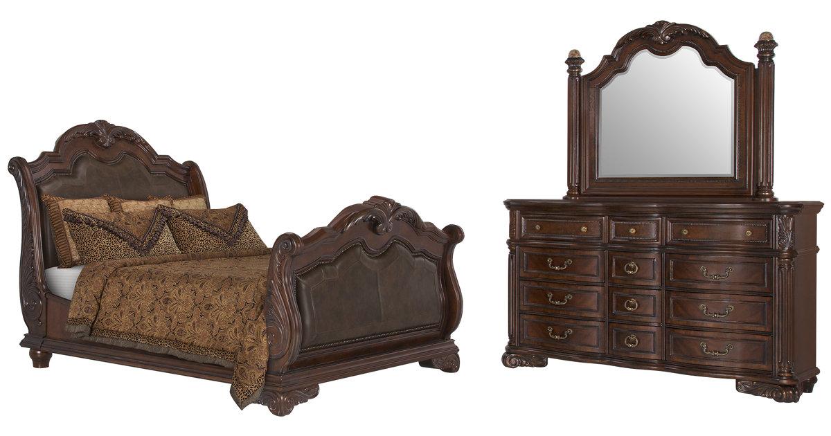 city furniture regal dark tone leather sleigh bedroom