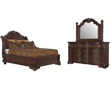 Regal Dark Tone Wood Platform Bedroom