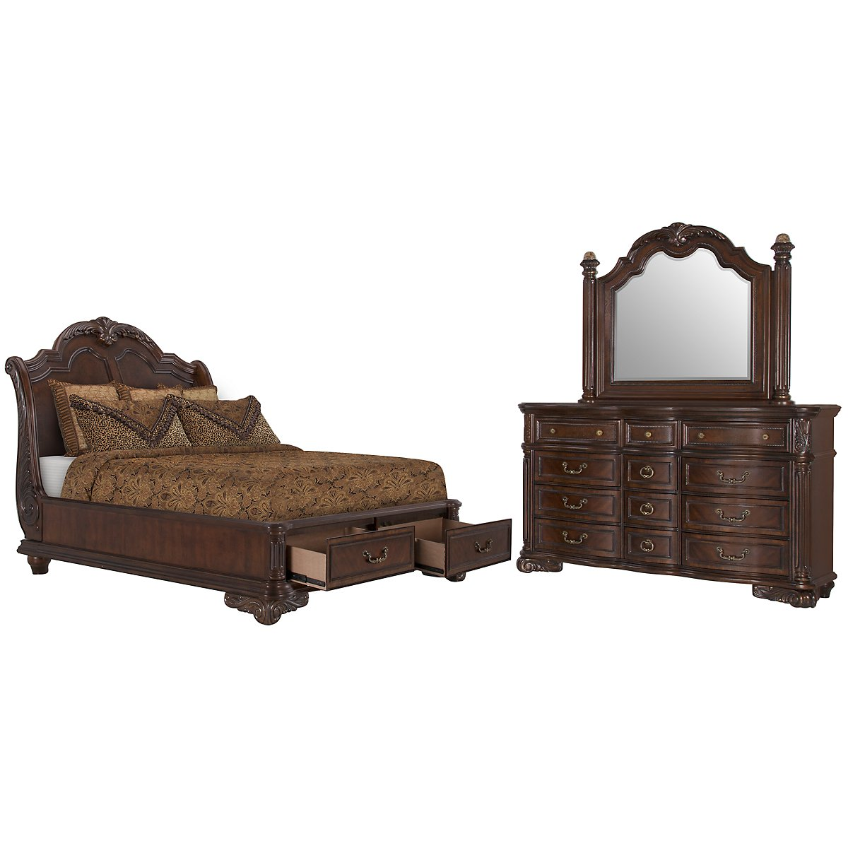 Regal Dark Tone Wood Platform Storage Bedroom