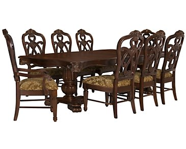 Regal Dark Tone Rectangular Table & 4 Wood Chairs