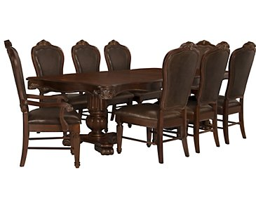 Regal Dark Tone Rectangular Table & 4 Leather Chairs