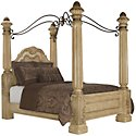Regal Light Tone Leather Canopy Bed