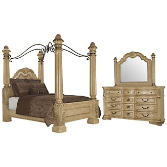 Regal Light Tone Leather Canopy Bedroom