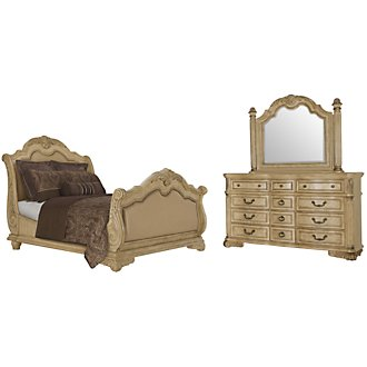 Regal Light Tone Leather Sleigh Bedroom