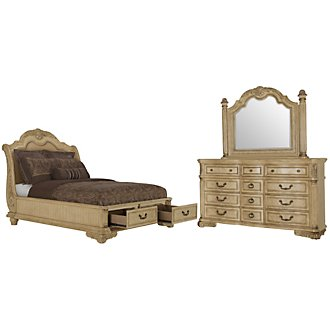Regal Light Tone Leather Platform Storage Bedroom