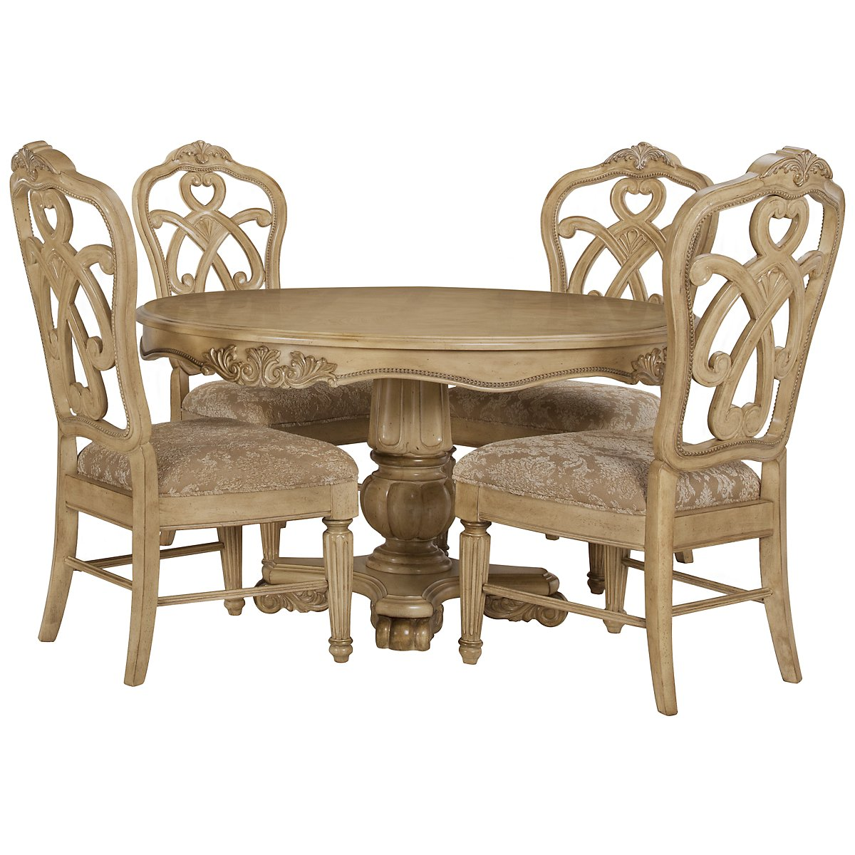 Regal Light Tone Round Table & 4 Wood Chairs