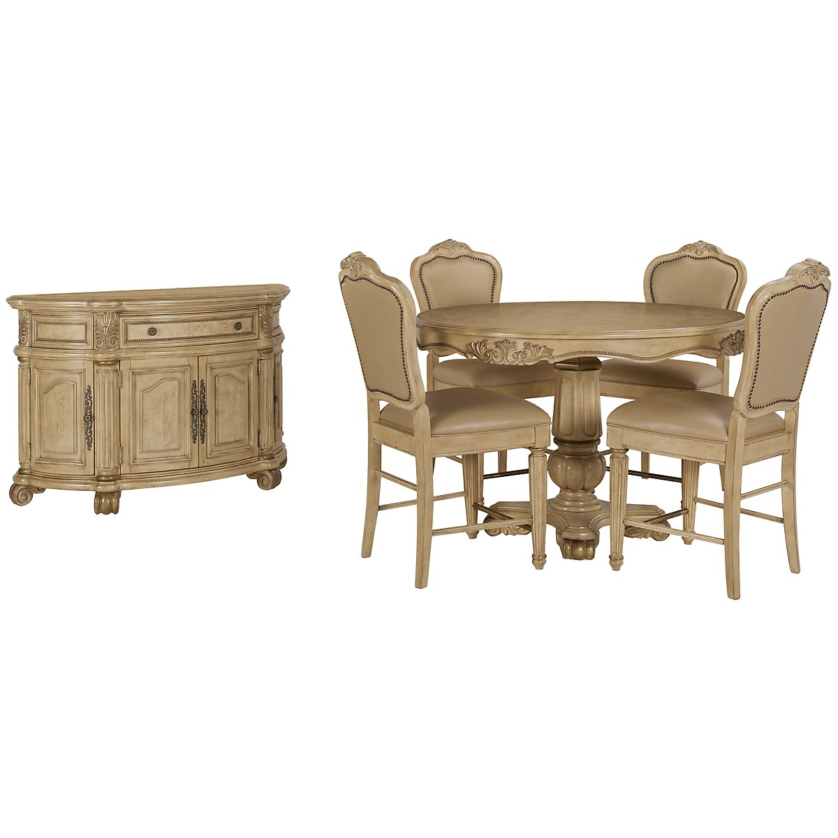 Regal Light Tone Round High Dining Room