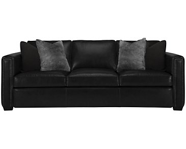 Newburg Dark Gray Leather Sofa
