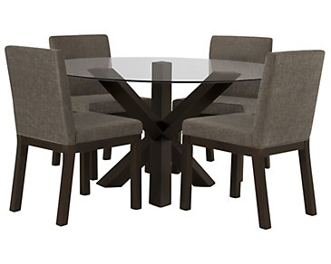 Tocara Dark Tone Round Table & 4 Upholstered Chairs