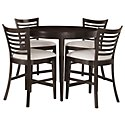 Sanibel Dark Tone Round High Table & 4 Wood Barstools