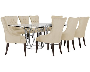 Argent Light Beige Rectangular Table & 4 Upholstered Chairs