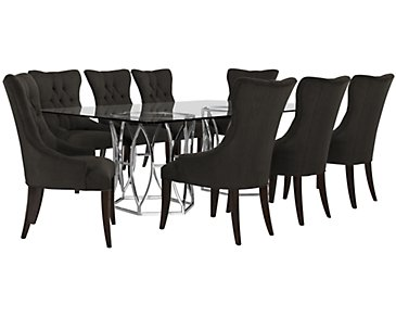 Argent Dark Gray Rectangular Table & 4 Upholstered Chairs