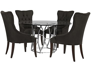 Argent Dark Gray Round Table & 4 Upholstered Chairs