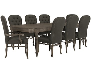 Belgian Oak Light Tone Rectangular Table & 4 Upholstered Chairs