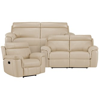 Gamma Beige Microfiber Manually Reclining Living Room