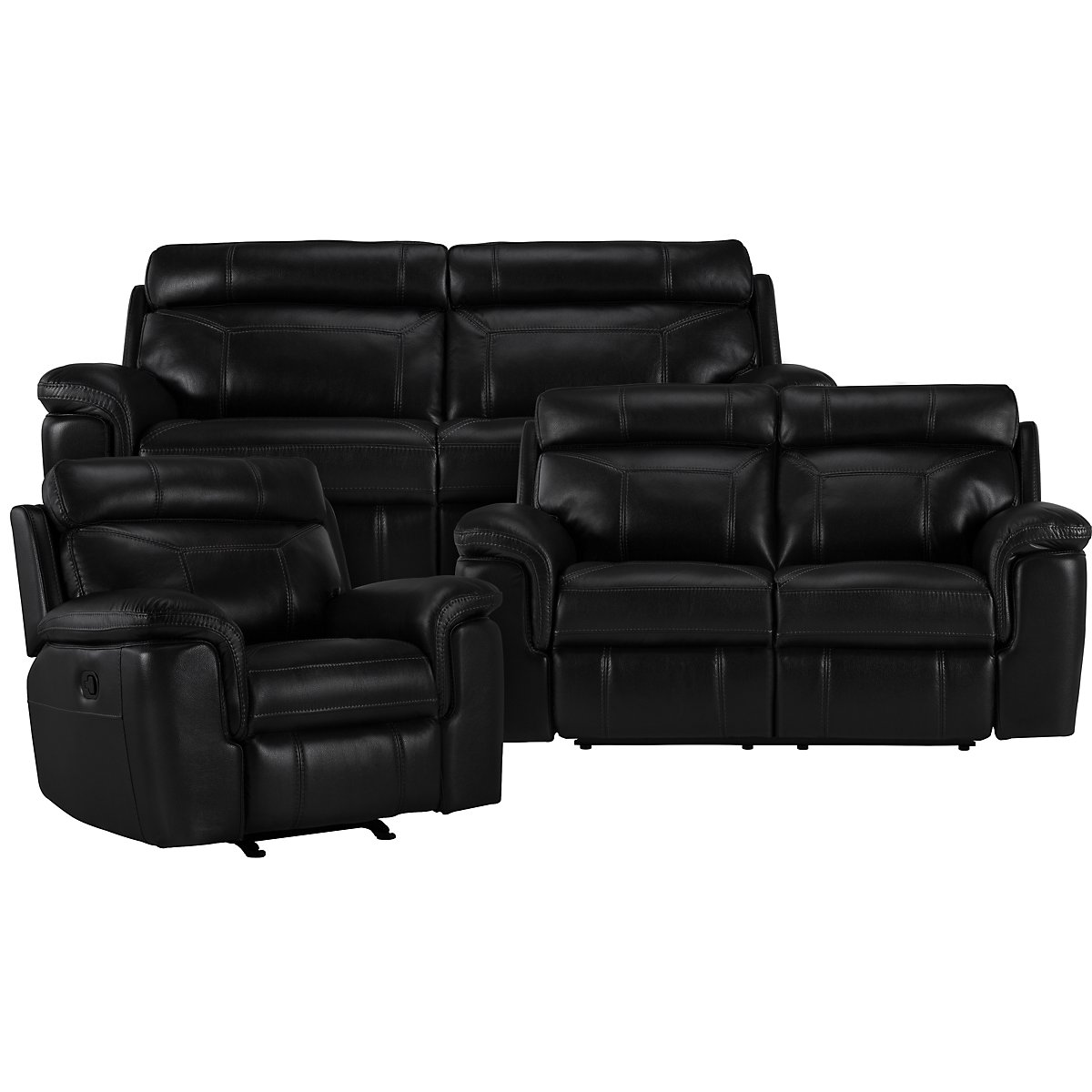 Gamma Black Microfiber Manually Reclining Living Room