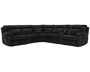 Gamma Black Microfiber Small Two-Arm Manually Reclining Sectional