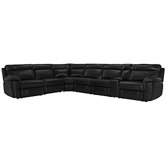 Gamma Black Microfiber Large Two-Arm Power Reclining Sectional