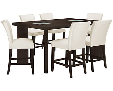 Delano2 White High Table & 4 Bonded Barstools