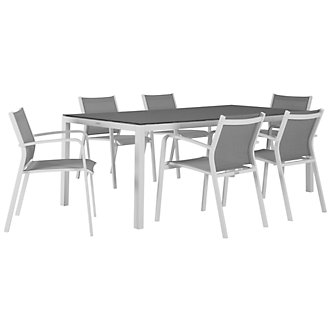 "Lisbon Gray 86"" Rectangular Table & 4 Chairs"