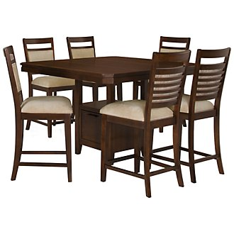 Andora Mid Tone High Table & 4 Upholstered Barstools