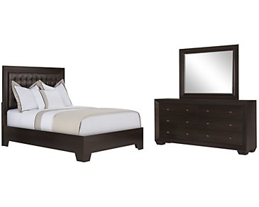 Adele2 Dark Tone Bonded Leather Platform Bedroom