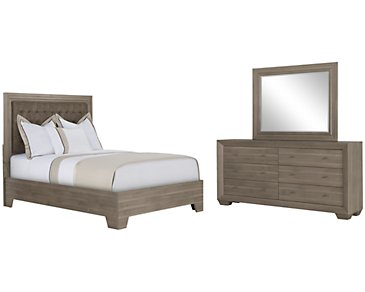 Adele2 Light Tone Bonded Leather Platform Bedroom
