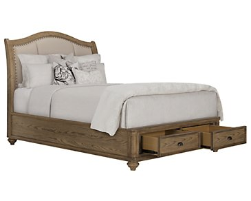 Coventry Light Tone Upholstered Platform Storage Bed
