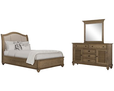 Coventry Light Tone Upholstered Platform Bedroom