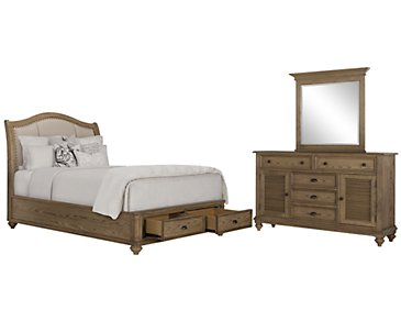 Coventry Light Tone Upholstered Platform Storage Bedroom