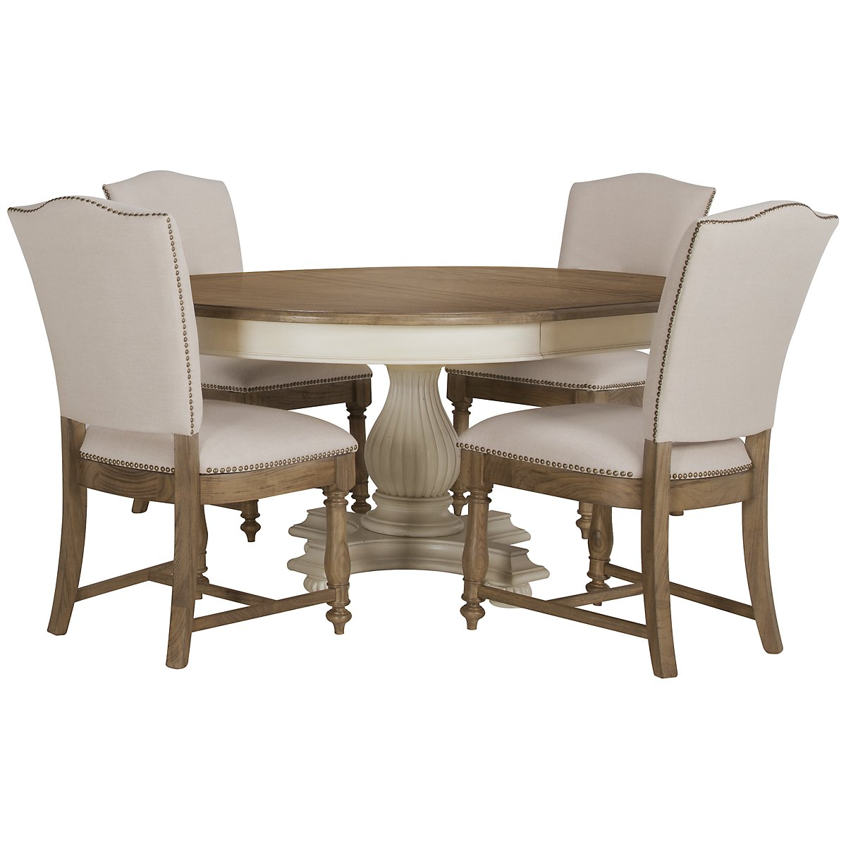 Coventry Two-Tone Round Table & 4 Upholstered Chairs