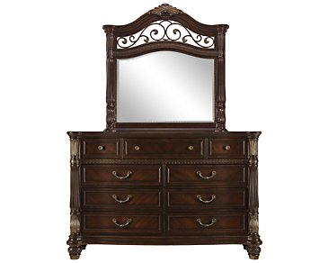 Tradewinds Dark Tone Metal Dresser & Mirror