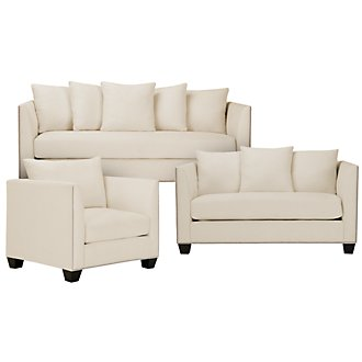 Briget2 Lt Beige Fabric Living Room
