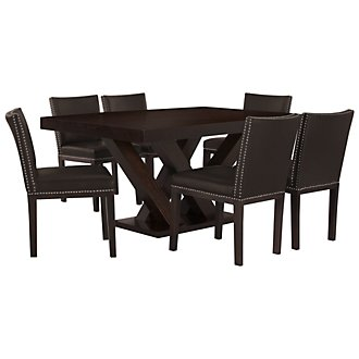 Tiffany Dark Brown Rectangular Table & 4 Bonded Chairs