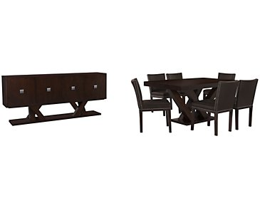 Tiffany Dark Brown Rectangular Dining Room