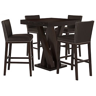 Tiffany Dk Brown Pub Table & 2 Bonded Barstools