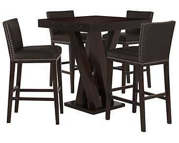 Tiffany Dark Brown Pub Table & 2 Bonded Barstools