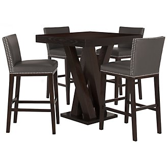Tiffany Dk Gray Pub Table & 2 Bonded Barstools