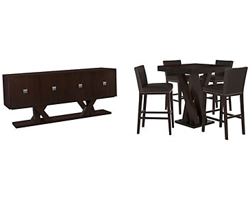 Tiffany Dark Brown Pub Dining Room