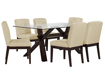 "Berkley Taupe 72"" Table & 4 Upholstered Chairs"
