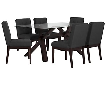 "Berkley Dark Gray 72"" Table & 4 Upholstered Chairs"