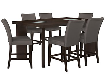 Delano2 Dark Gray High Table & 4 Bonded Barstools